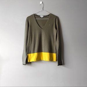Lacoste V Neck Stripe Sweater | Size 34